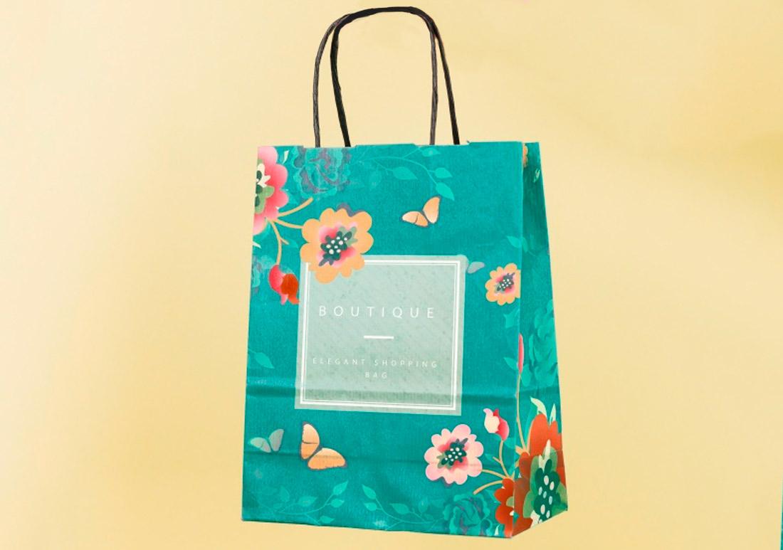 Bolsa de papel con asas para promocionar boutiques